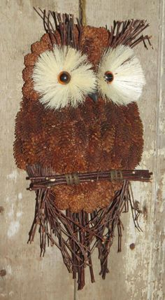 OWL WALL HANGING  Rustic Pine Cone Wood Bird Art NATURAL INTERIOR CABIN DECOR #Cottage