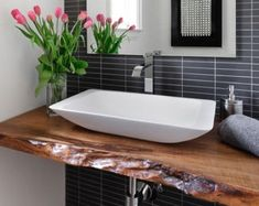 Live Edge Wood Slabs - Add a Piece of Nature to Your Home - Beautiful Bathrooms - Resin Wood Bathroom Sink Design, Modern Bathroom Sink, Diy Bathroom Vanity, Wood Bathroom, Bathroom Interior Design, Small Bathroom, Ada Bathroom, Glass Bathroom, Bathroom Cabinets