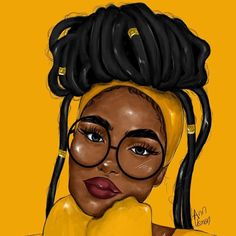 Black Art:  __________________________________________  #blackart #art #artist #artistlife #artwork  #blackgirlmagic #blackwomen #braidednaturalhairstyles #artprojects #artpainting #artdrawings #blackgirlart #hair #hairstyles African American Art, Black Girl Art, Black Women Art, Black Girl Magic, Black Girls, Art Girl, Big Glasses, Woman Art, Art Drawings