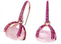 Nanis Earrings sapphire Roze quarz
