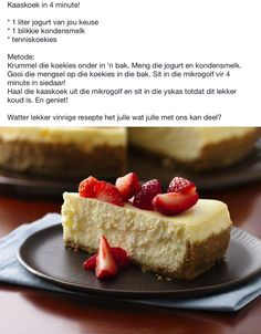 Kaaskoek in 4 minute! Cheesecake Recipes, Dessert Recipes, Desserts, Christmas Deserts, Something Sweet, Cupcake Cakes, Cupcakes, Easy Meals, Easy Recipes