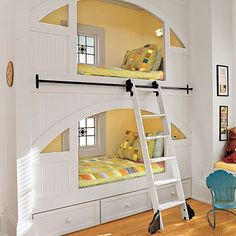 I like the idea of 1 ladder that can roll all the way across 2 bunks Kid's Room: Rolling Ladder < Creative Ideas for Kids' Rooms and Nurseries - Southern Living Mobile Bunk Beds Built In, Cool Bunk Beds, Kids Bunk Beds, Unique Bunk Beds, Creative Kids Rooms, Creative Ideas, Deco Kids, Library Ladder, Bunk Rooms