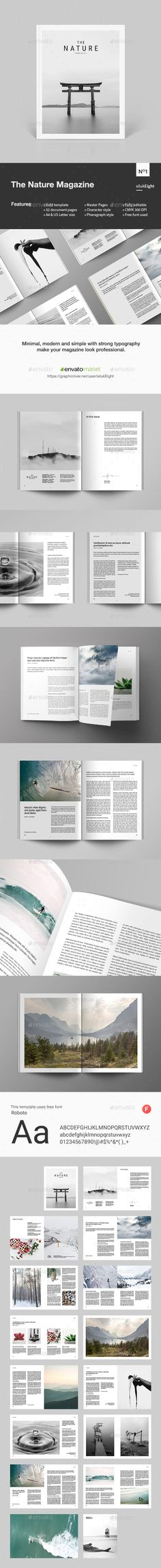 The Nature Magazine — InDesign INDD #brochure #clean • Download ➝ https://graphicriver.net/item/the-nature-magazine/20512480?ref=pxcr