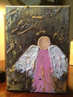 5x7x1.5 Acrylic Pink Angel on Gallery Wrapped by LMitchellArt, $45.00