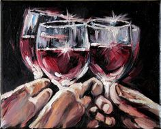 Idea for the wine room art:  Red Wine Glasses Still Life Art Modern Oil Painting on Canvas by Anastassia. $60.00, via Etsy.