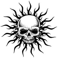 Vector skull and tribal sun tattoo design
