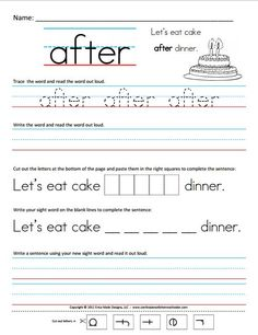 First Grade Sight Words Printable   word reading the word aloud writing the word in a sentence and cut ...
