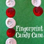 Easy Fingerprint Candy Cane Christmas Craft For Kids