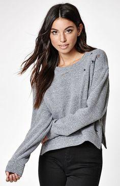 Side Zip Destroyed Cropped Sweatshirt