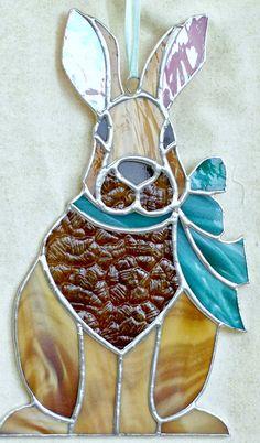 Grand vitrail lièvre. Lapin sun catcher pendaison par ClearerImage
