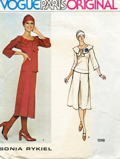 1970s Vogue 1266 TOP SKIRT & HAT Pattern Sonia Rykiel Vogue Paris Original Knit 2-Piece Dress Pattern Bust 34 Size 12 Womens Sewing Patterns