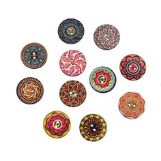 25mm Round 2 Holes 50 pcs Flower Buttons Mixed Painted Design Decoration Clothing Accessories Sewing Scrapbooking Decoration #clothing,#shoes,#jewelry,#women,#men,#hats,#watches,#belts,#fashion,#style