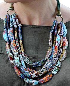 Tanya Mayorova's folded ovals necklace on Polymer Clay Daily