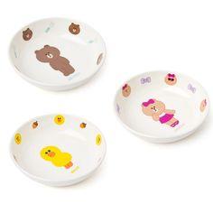 Line Friends Official Goods 3P Melamine Plates Set Brown Sally Choco  Dish Small #LineFriends