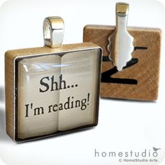 Shh I'm Reading  necklace Charm handmade with by HomeStudio, $8.95
