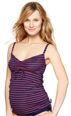 Nautical Stripes - Tankinis - #pregnancy swimsuits for summer.
