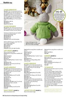 "Photo from album ""Simply Knitting No. 170 on - Baby - Knitting Ideas Baby Knitting Patterns, Teddy Bear Knitting Pattern, Knitted Doll Patterns, Christmas Knitting Patterns, Knitting Charts, Knitted Dolls, Free Knitting, Knitted Bunnies, Knitted Teddy Bear"