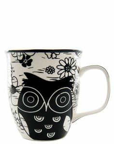 Black And White Owl Mug Pinned by www.myowlbarn.com