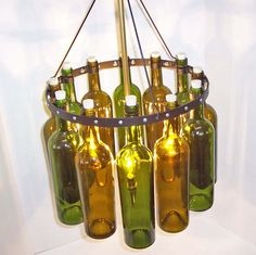 "Recycled  Wine Bottle Chandelier, ""Sea Glass"" with  Black Wrought Iron. hmsc3 Etsy"