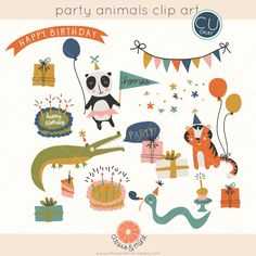 Birthday Party Animals Vector Clip Art Graphics- EPS file - Hand-Drawn Digital Illustrations- Commercial Use Royalty Free - instant download by CitrusandMint on Etsy https://www.etsy.com/listing/264070861/birthday-party-animals-vector-clip-art