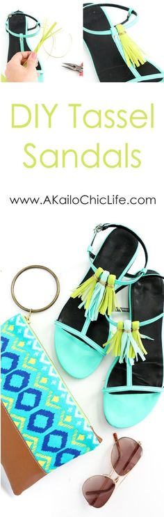 DIY It - Colorful Tassel Sandals - Tutorial for using faux or real leather to make your own shoe tassels with gold accents - summer craft - summer accessories - tassel sandals - tassel shoes - DIY