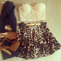 long bodice bra with high waisted leopard skirt