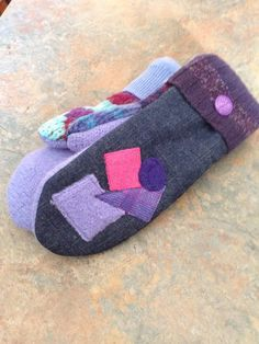 OOAK Ladies upcycled denim/sweater mittens by 47Sweaters on Etsy