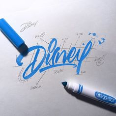 A subtle but great looking Disney rebrand. Really keeps the same Disney feel to it.⠀ Disney by ⠀ --⠀ Doodle Lettering, Types Of Lettering, Script Lettering, Brush Lettering, Lettering Design, Logo Design, Creative Typography, Typography Quotes, Typography Inspiration