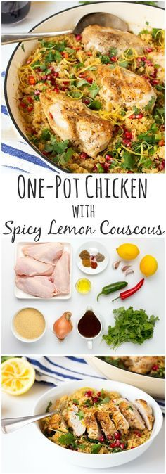 30 minute One-Pot Lemon and Garlic Chicken with Spicy Couscous