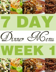 4 weeks of dinner menus! Click the link for Week #1 and links to weeks #2, #3, & #4  #dinner #menus