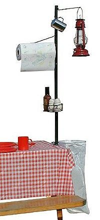 Nifty attach to picnic table to hold light, towels, spices, garbage bag.