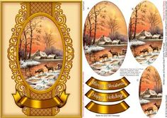 Winter Lake at Sunset Oval Frame Pyramage on Craftsuprint designed by Sandie Burchell - Beautiful Oval Frame Pyramage with 3 layers. The design will fit on to an A5 card blank and into a C5 envelope. Choice of sentiment panels include: Merry Christmas, Happy Holidays or Blank for your own peel off lettering or stamp. This design has a matching insert sheet available - see related sheets. To search for more of these click on my name and enter oval frame into my search box. Please take a look…