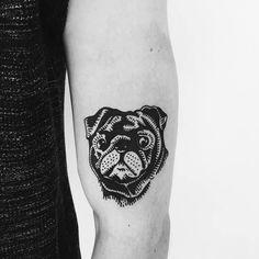 Black Ink Pug Tattoo by Nina Waldron