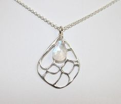 Moonstone with Sterling Silver Filigree Diamond Necklace