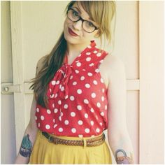 Honeyandthehive shares her spring style with us in the Knots and Dots Top. Shop it: http://www.modcloth.com/shop/blouses/knots-and-dots-top?new_pdp_layout=true