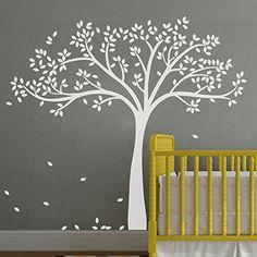 "Fall Tree Wall Decal - Monochromatic Tree Decal - Baby Nursery Wall D¡§|cor 78""H X 87""W (White tree) Geckoo http://www.amazon.com/dp/B00M920SRC/ref=cm_sw_r_pi_dp_tfATvb0X6SYFP"