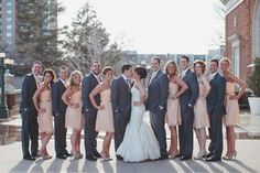 peach and gray wedding