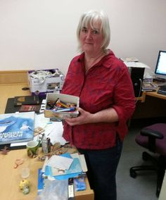 Cheryl's retiring today - after 27 years of faithful cataloging - she's sad because she's leaving behind the many pens that have somehow come her way -