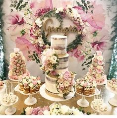 Styled by backdrop by cake by flowers by name by Fancy Birthday Cakes, Cake Table Birthday, Birthday Party Celebration, Birthday Cake Girls, Birthday Parties, Bridal Shower Luncheon, Bridal Shower Desserts, Wedding Desserts, Wedding Cakes