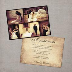 Vintage Wedding Thank You Card the Abigail by NostalgicImprints, $88.00