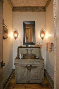 Classic Reclaimed Wooden Bathroom Vanity With Round Pottery Sink As Well As Black Mirror Frames Also Double Wall Light Fixtures As Small Rustic Bathrooms Decorating Ideas