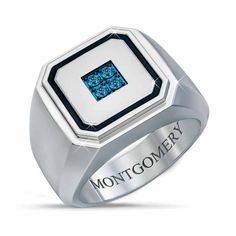 Forged from durable stainless steel, this striking ring features four Arctic blue diamonds specially treated to obtain a stunning icy hue. The diam. Brown Gemstone, Diamond Sizes, Signet Ring, Custom Engraving, Blue Diamonds, Arctic, Fashion Rings, Rings For Men, Jewelry Rings
