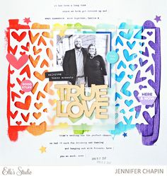 True Love scrapbook layout by Jen Chapin for Elle's Studio Love Scrapbook, Scrapbook Sketches, Scrapbook Page Layouts, Scrapbook Cards, Elle Studio, Chasing Dreams, Using Acrylic Paint, Photo Layouts, Studio Calico