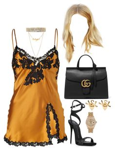 """""""Out in LA"""" by nytown ❤ liked on Polyvore featuring La Perla, Minor Obsessions, Giuseppe Zanotti, Gucci, Yves Saint Laurent and Rolex"""