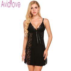 Avidlove Lace Nightgowns Sleepwear Women Nightwear Sexy Night Dresses Plus  Size Nuisette Femme Sexy Nighty Sleeveless c4afe4f47