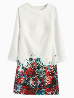 White Shift Dress With Floral Bottom   Choies
