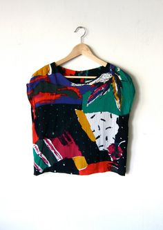 Colorful Cropped 80's Top