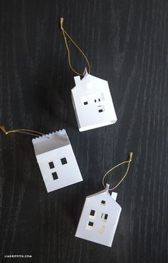 DIY Paper House Christmas Ornament