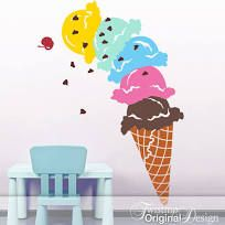 Ice Cream Cone for Shop or Parlor Decor: Giant Ice Cream Cone Wall Decal Ice Cream Party Decoration Food Decal Ice cream shop Giant Ice Cream, Ice Cream Art, Ice Cream Design, Ice Cream Parlor, Bar Laitier, Southern Living, Kombi Food Truck, Ice Cream Decorations, Cream Walls