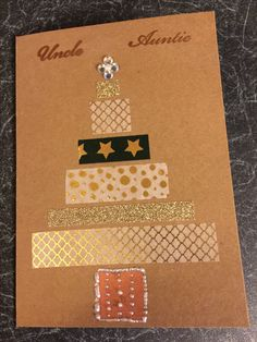 Holiday card making: Handmade Christmas card featuring washi tape, copper embossing and embellishments. Holiday Cards, Christmas Cards, Stick Figures, Washi Tape, Handmade Christmas, Embellishments, Card Making, Copper, Butterfly